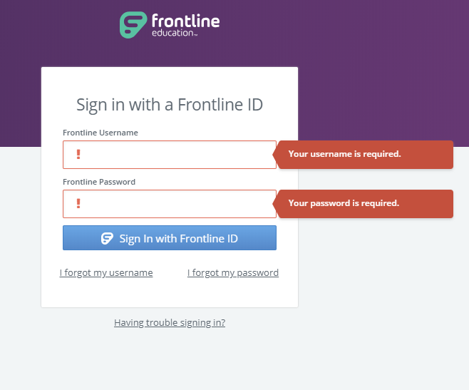Frontline Log-In Page
